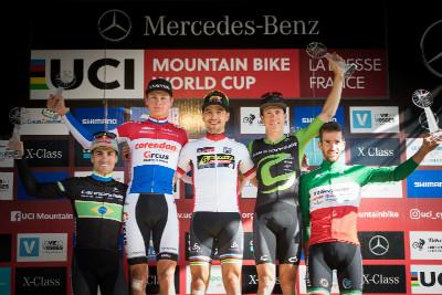 SP celkově: 1.Nino Schurter, 2.Mathieu van der Poel, 3.Maxime Marotte, 4.Henrique Avancini, 5.Gerhard Kerschbaumer