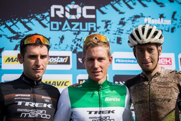 Roc d'Azur 2018 - trojice nejlepších z maratonu: 1. Porro, 2. Casagrande, 3. Carabin