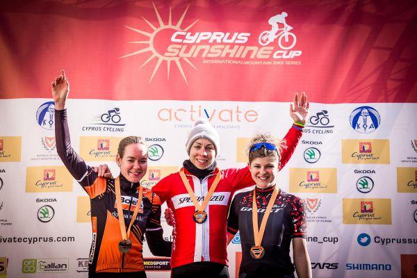 Afxentia 2019 - 3. den - trojice nejlepších žen 1. Langvad, 2. van der Breggen, 3. Pasteiner