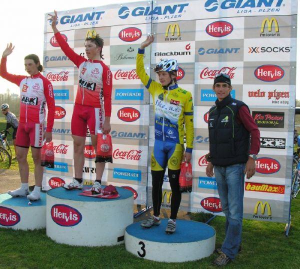 Giant Liga - Plzeň Lopatárna, 11.4.2007, stupně junioři, foto: www.bikerace.cz