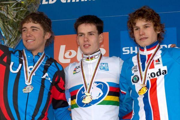 1. Joeri Adams /BEL/, 2. Danny Summerhill /USA/, 3. Jiří Polnický /CZE/ - Mistrovství světa v cyklokrosu 2007, junioři - Hooglede-Gits, Belgie