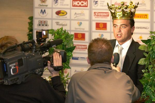 Slavnostní vyhlášení Krále cyklistiky 2006, 18.1. Praha - Hotel President - rozhovor pro ČTV