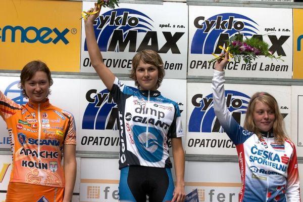 ČP XC 3. závod, Česká Kamenice 2.6.2007 - juniorky 1. Škarnitzlová, 2. Raková, 3. Valešová